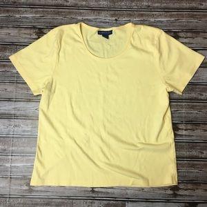 Karen Scott Yellow Short Sleeve Tee Large